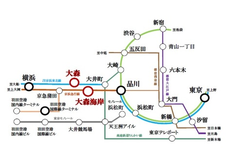 路線図 2線2駅利用可能