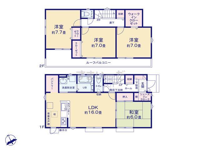 リナージュ 加須市旗井18-4期の見取り図