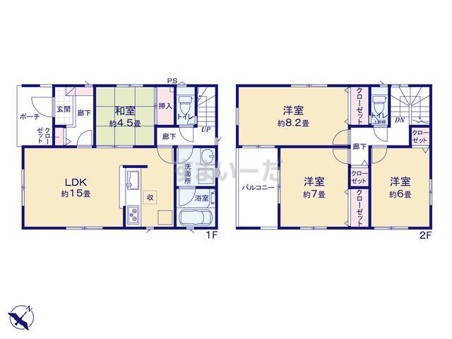 クレイドルガーデン 金沢市東長江町 第1の見取り図