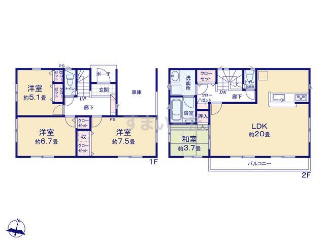 クレイドルガーデン 横浜市旭区笹野台 第5の見取り図