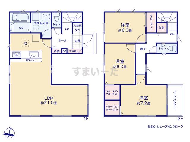 リナージュ 八千代市萱田18-2期1棟現場の見取り図