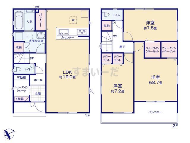 リナージュ 龍ヶ崎市藤ヶ丘19-3期の見取り図