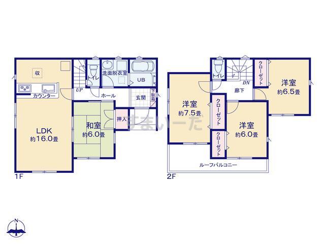 リナージュ 宝塚市長尾台19-1期 1棟の見取り図
