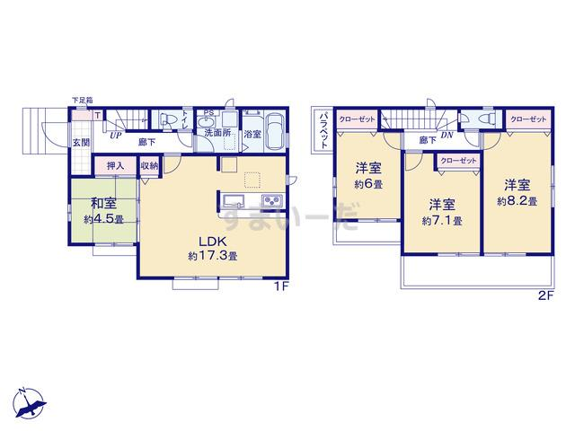グラファーレ 横浜市中沢3期1棟の見取り図