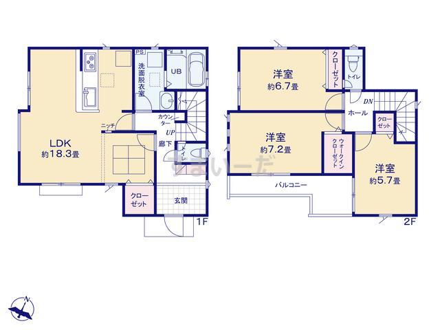 グラファーレ 朝霞市根岸台11期12棟の見取り図