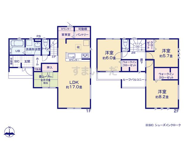 リナージュ 龍ヶ崎市松ヶ丘19-1期の見取り図