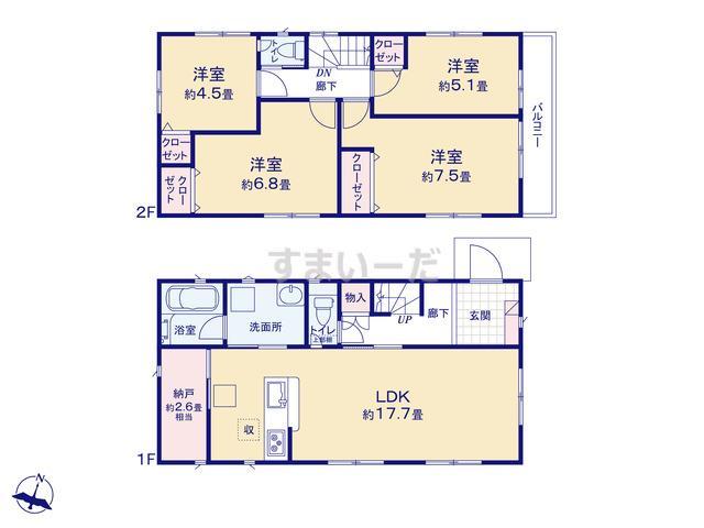 クレイドルガーデン 名古屋市天白区植田山 第6の見取り図
