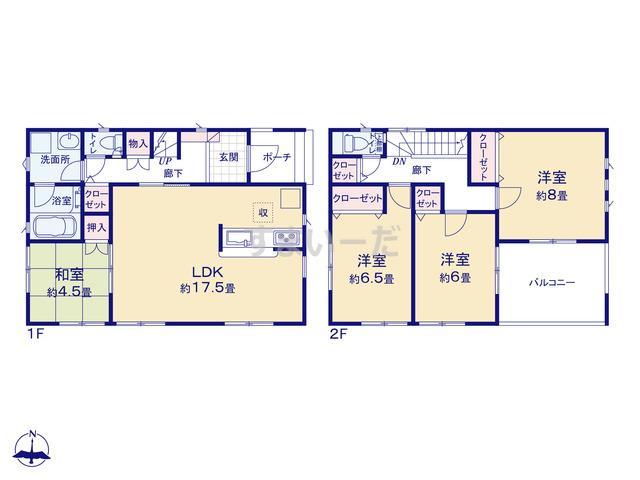 クレイドルガーデン 袋井市横井 第1の見取り図