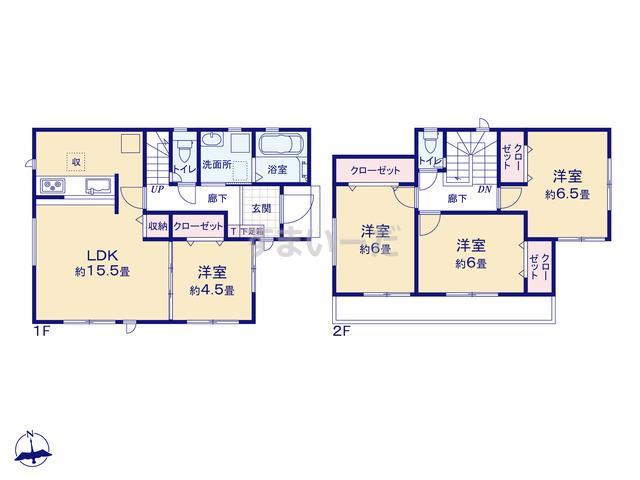グラファーレ 北名古屋市熊之庄6期3棟の見取り図