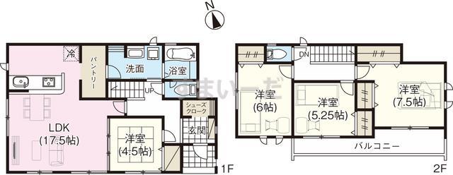 グラファーレ 宇都宮市上横田町2期2棟の見取り図