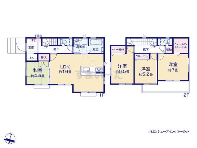グラファーレ 加須市北下新井4期2棟の見取り図