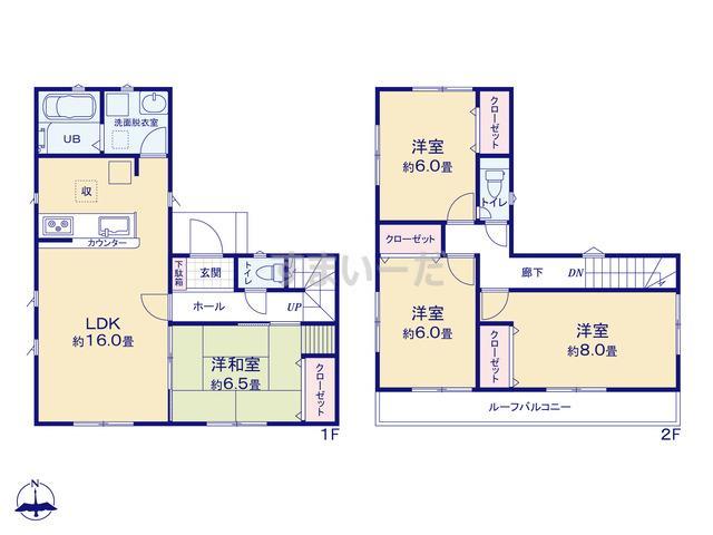 リナージュ 北名古屋市能田19-1期の見取り図