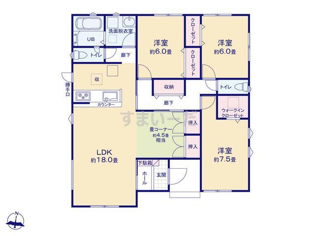 リナージュ 加須市多門寺19-1期の見取り図