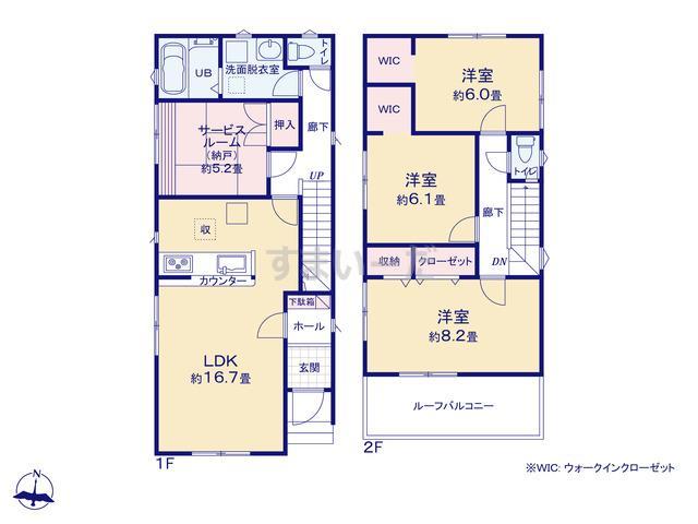 リナージュ 生駒市松美台19-1期の見取り図