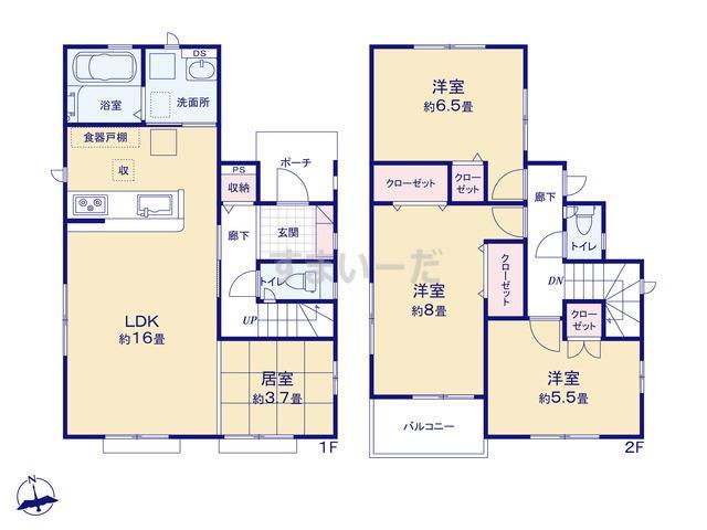 グラファーレ 仙台市双葉ヶ丘6期4棟の見取り図