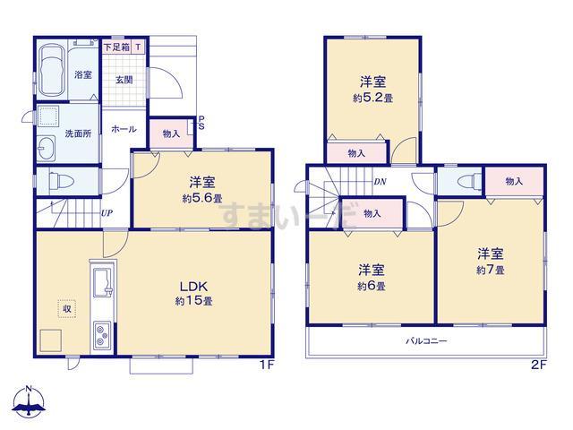 ハートフルタウン 北名古屋市片場郷の見取り図