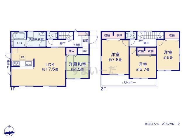 リーブルガーデン 奈良西大寺赤田町二期の見取り図