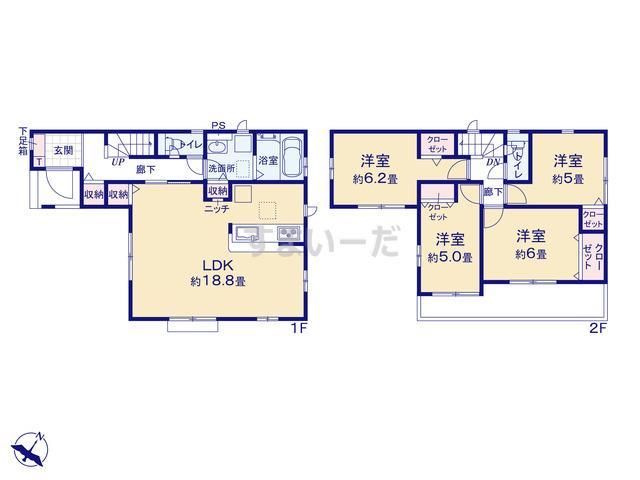 グラファーレ 横浜市川井本町2棟の見取り図