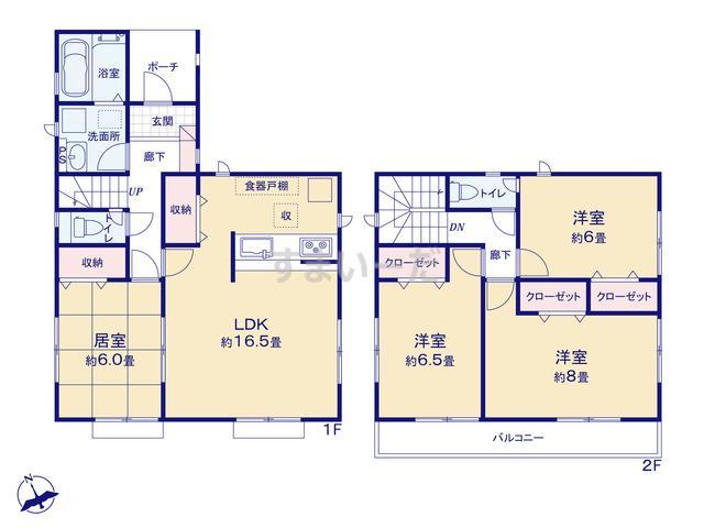グラファーレ 仙台市国見5期4棟の見取り図