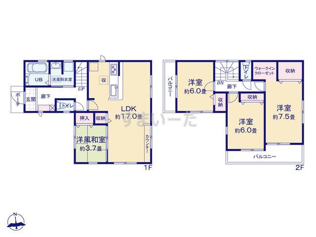 リーブルガーデン 武蔵村山大南第4期の見取り図