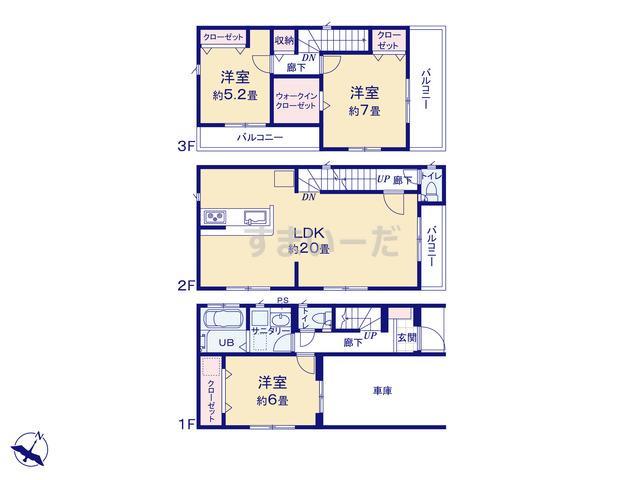 グラファーレ 福岡市筥松3棟の見取り図
