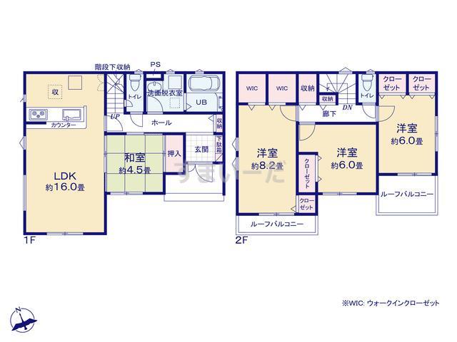 リナージュ 加須市花崎19-1期の見取り図