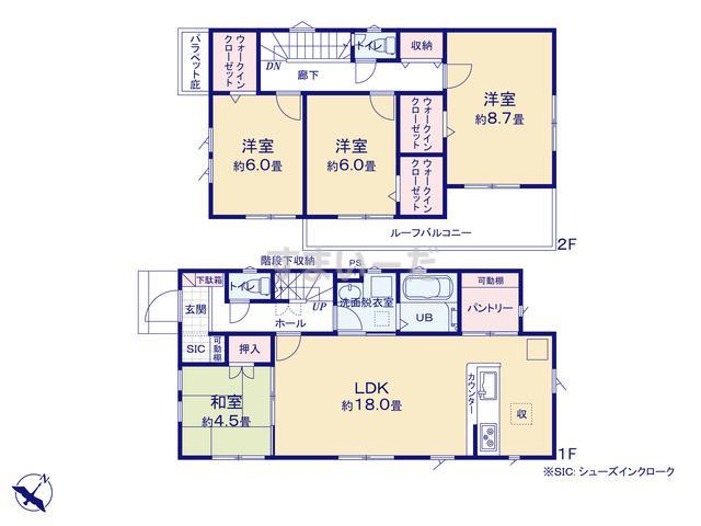 リナージュ 八王子市弐分方町19-3期の見取り図