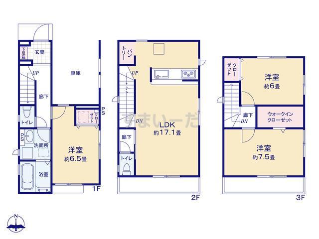 グラファーレ 江戸川区上篠崎2期1棟の見取り図