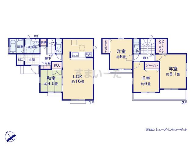 グラファーレ 八千代市大和田18期1棟の見取り図