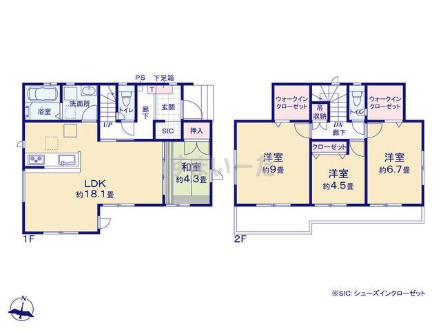 グラファーレ 福岡市今宿東2棟の見取り図