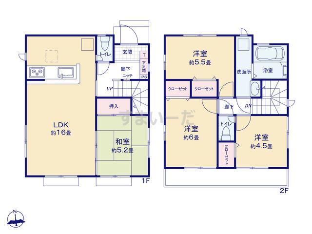 グラファーレ 横浜市中山4期3棟の見取り図