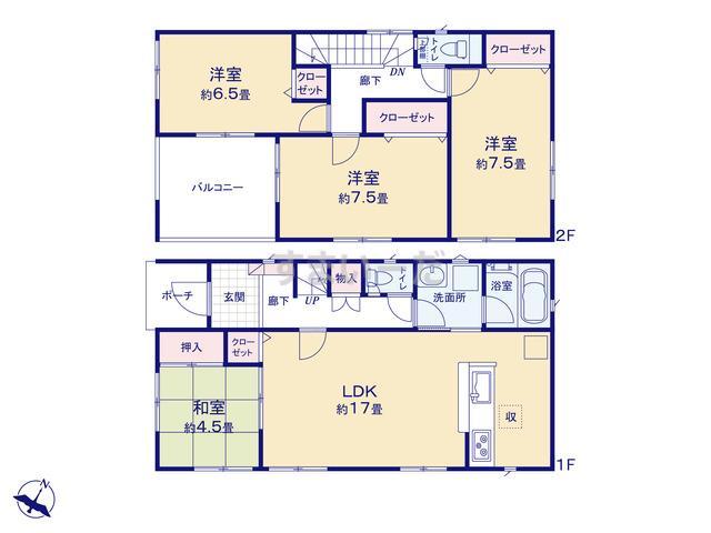 クレイドルガーデン 熊本市東区新外 第3-Ⅰ期の見取り図