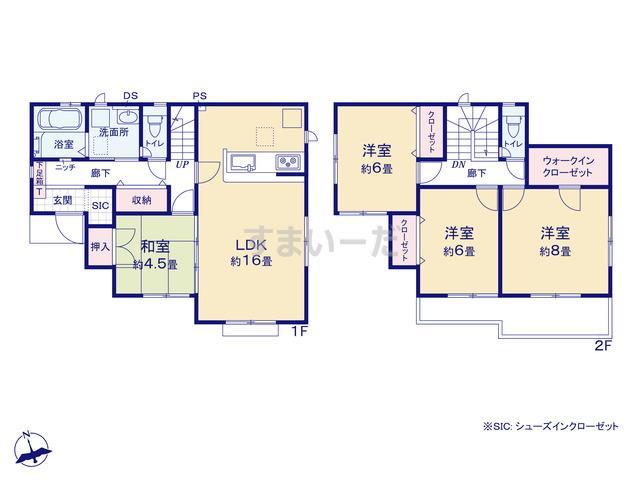 グラファーレ 鎌ヶ谷市西佐津間6期8棟の見取り図