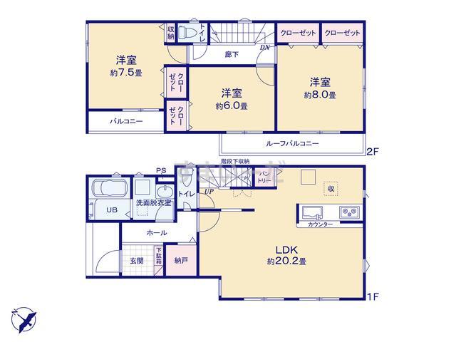 リナージュ 越谷市東大沢19-1期の見取り図