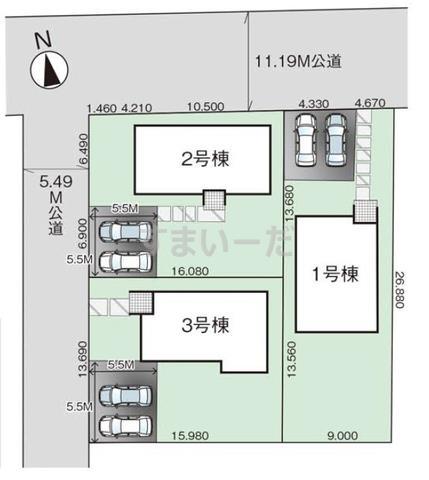 グラファーレ 北上市和賀町藤根3棟の見取り図