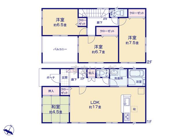 クレイドルガーデン 熊本市東区新外 第3 II期の見取り図