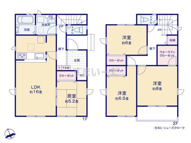 グラファーレ 新潟市小須戸4期1棟の見取り図