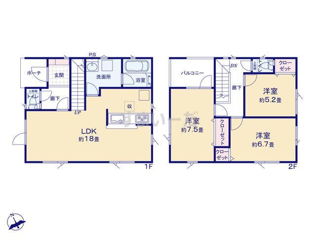 クレイドルガーデン 札幌市白石区米里一条 第1の見取り図