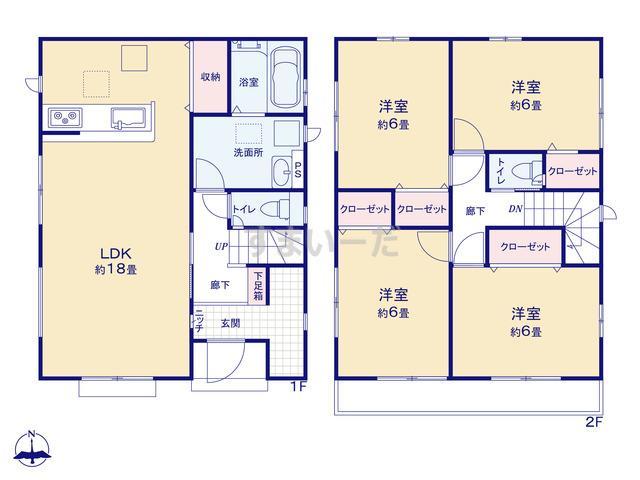 グラファーレ 横浜市中田西4期2棟の見取り図