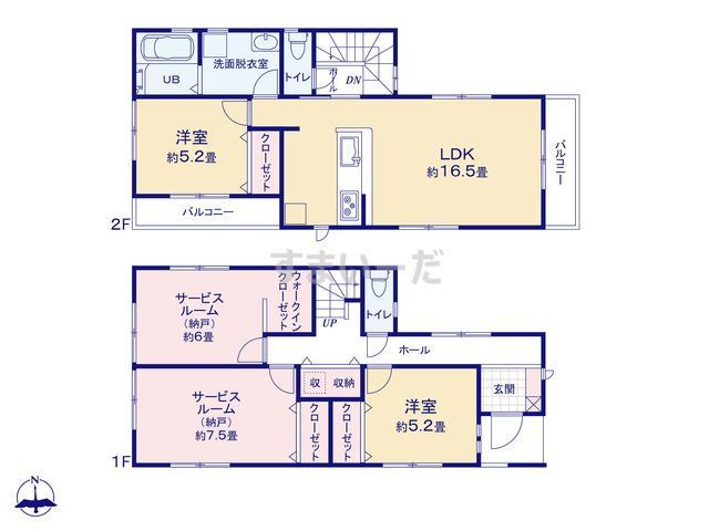 リーブルガーデン 東住吉区照ヶ丘矢田4期の見取り図