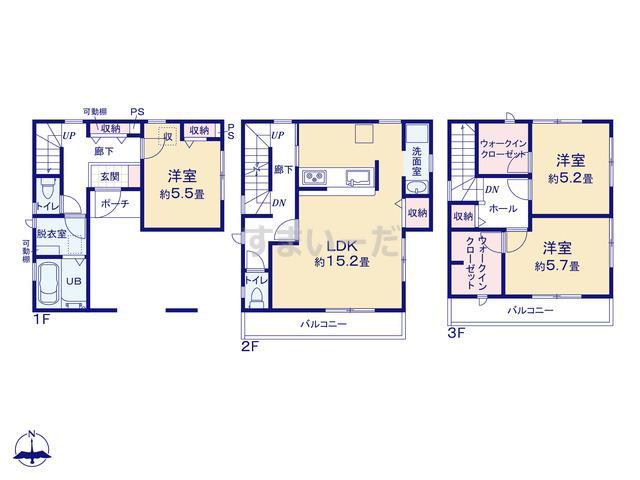 リーブルガーデン 北区石井小学校前第2の見取り図