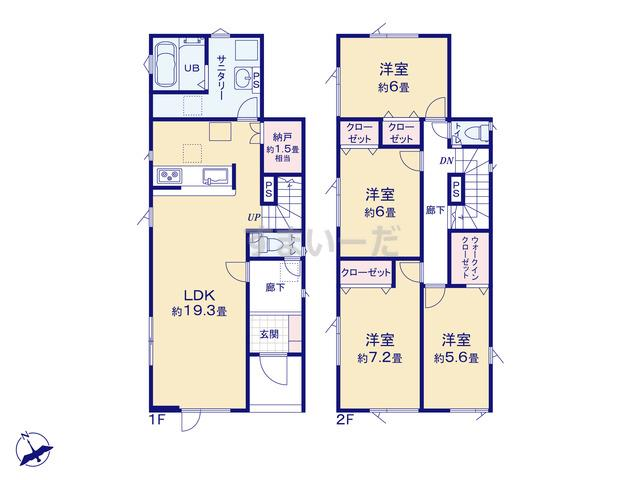 グラファーレ 札幌市本町2期5棟の見取り図