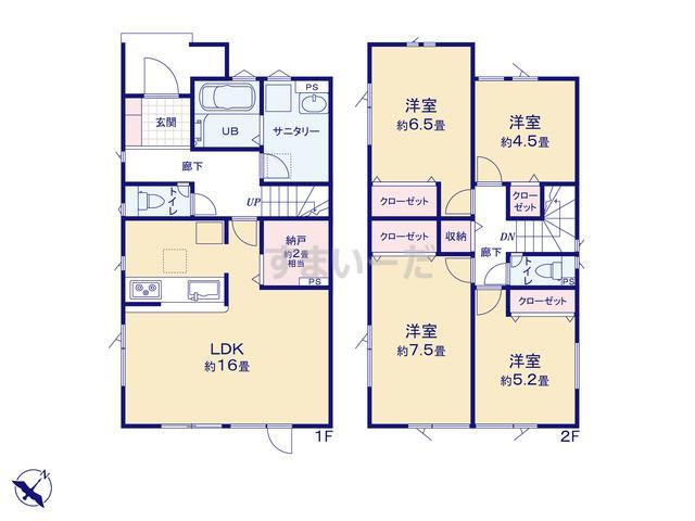 グラファーレ 札幌市西宮の沢2棟の見取り図