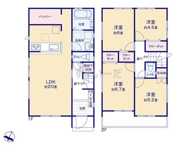 グラファーレ 名古屋市稲永4期14棟の見取り図