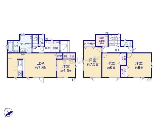 グラファーレ 札幌市新川4期2棟の見取り図