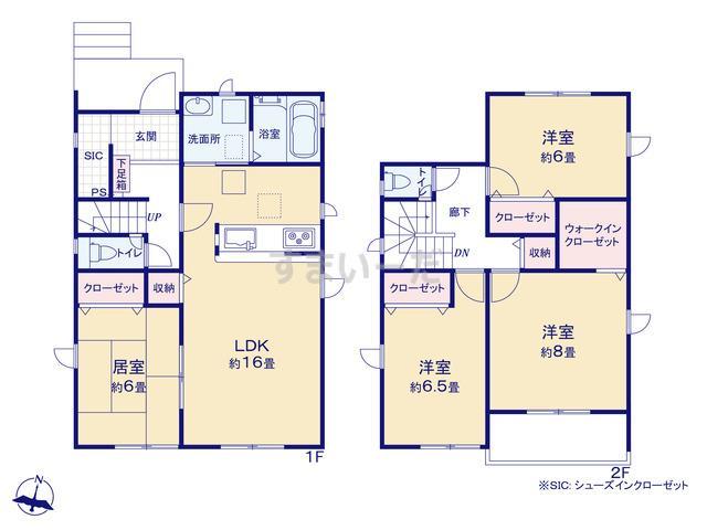 グラファーレ 新潟市太夫浜新町2期2棟の見取り図