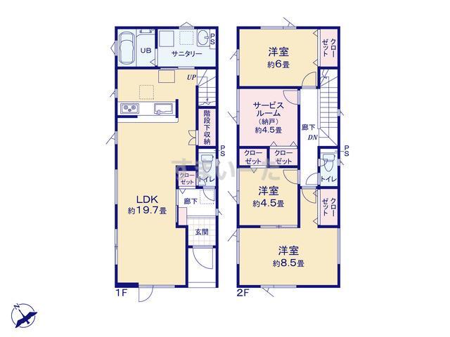 グラファーレ 札幌市北44期2棟の見取り図