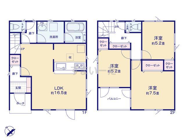 クレイドルガーデン 札幌市手稲区前田三条 第1の見取り図