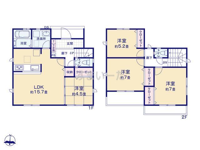 グラファーレ 岡山市土田3期1棟の見取り図