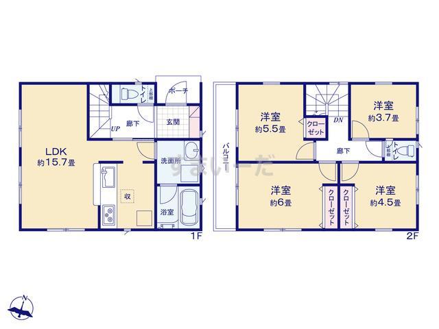 クレイドルガーデン 横浜市港南区下永谷 第7の見取り図